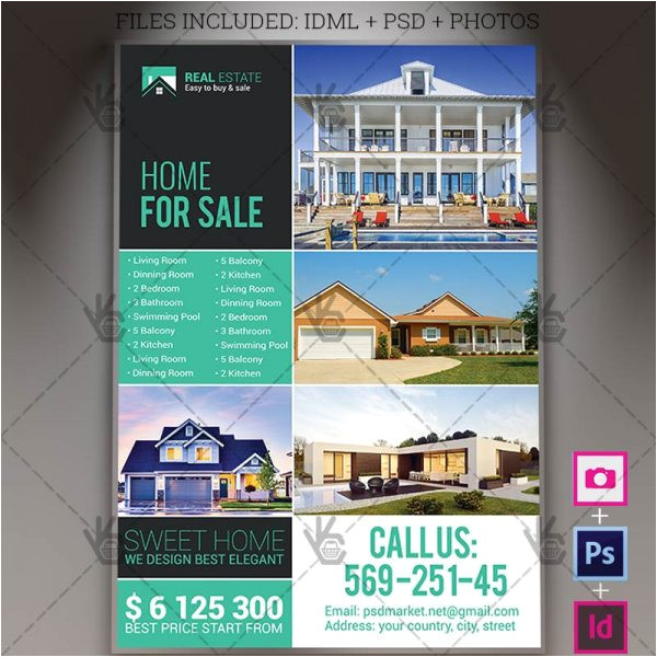 real estate agency a4 flyer psd template indesign