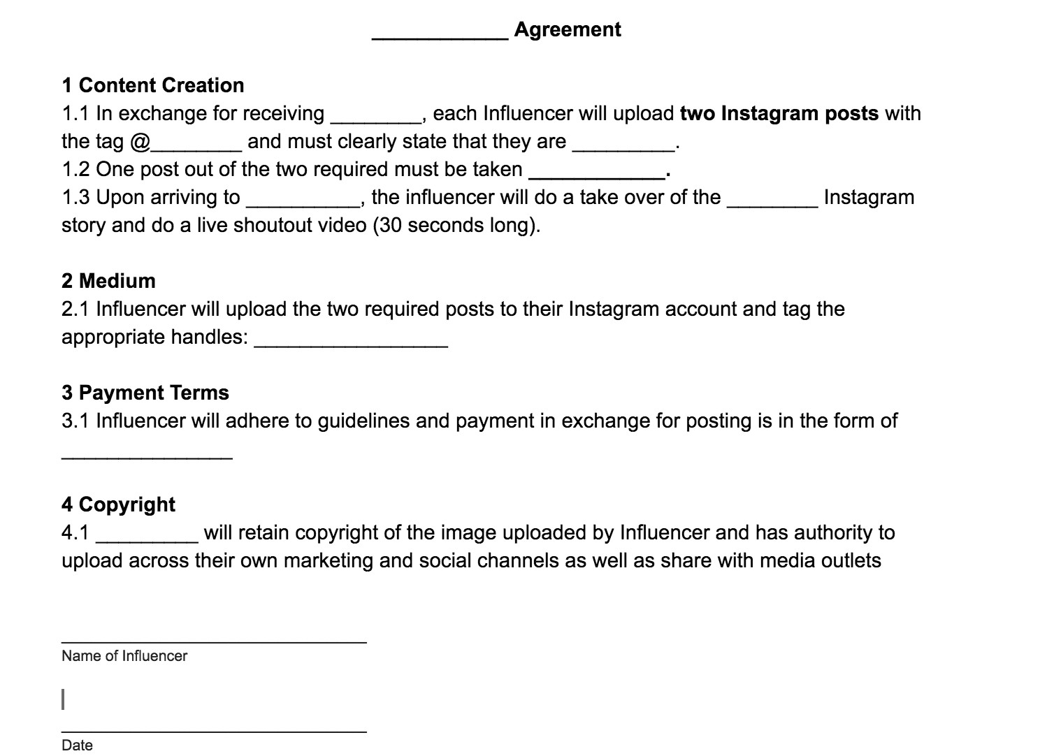 Influencer Contract Template Influencer Template Agreement Phlanx