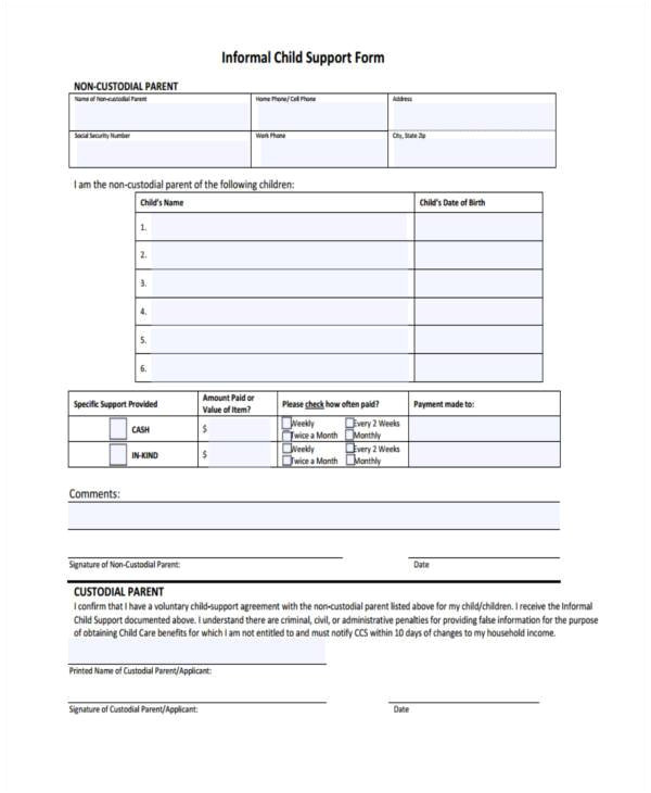 sample child support agreement form