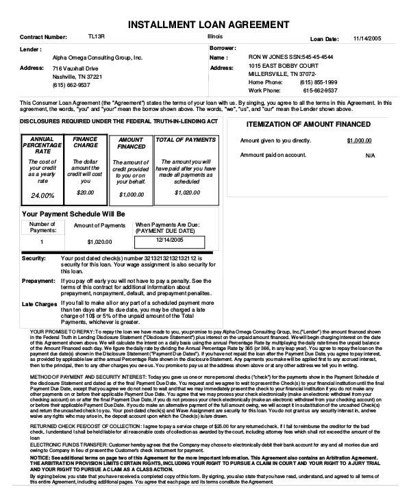 loan agreements template