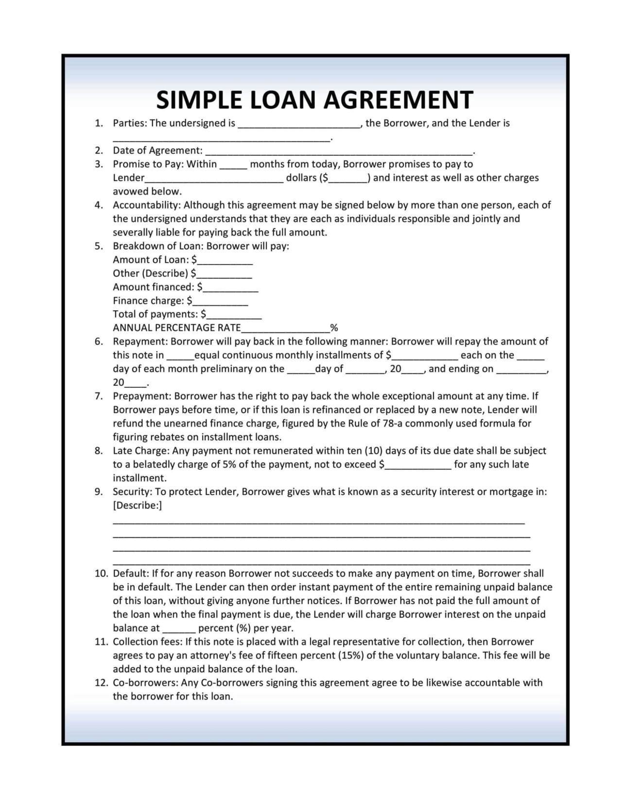 installment loan agreement template
