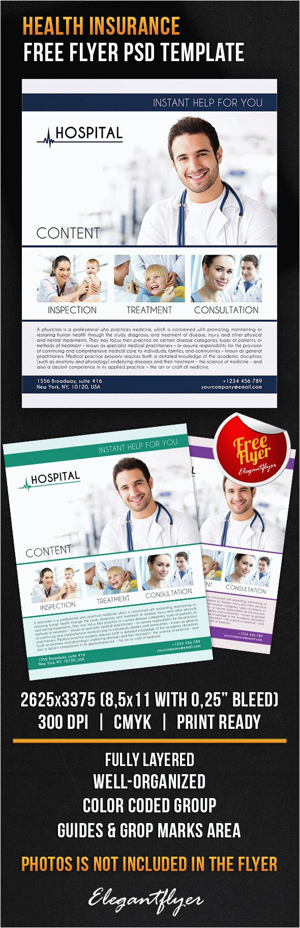 health insurance free flyer psd template