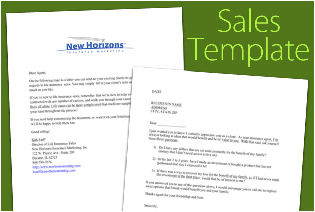 life sales letter template