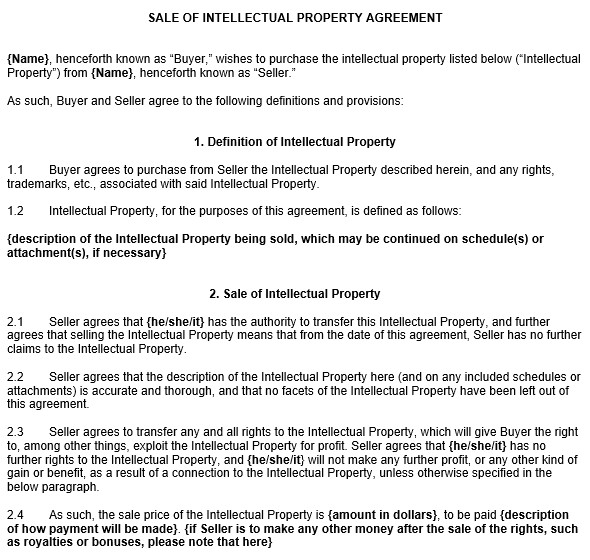sale of intellectual property agreement