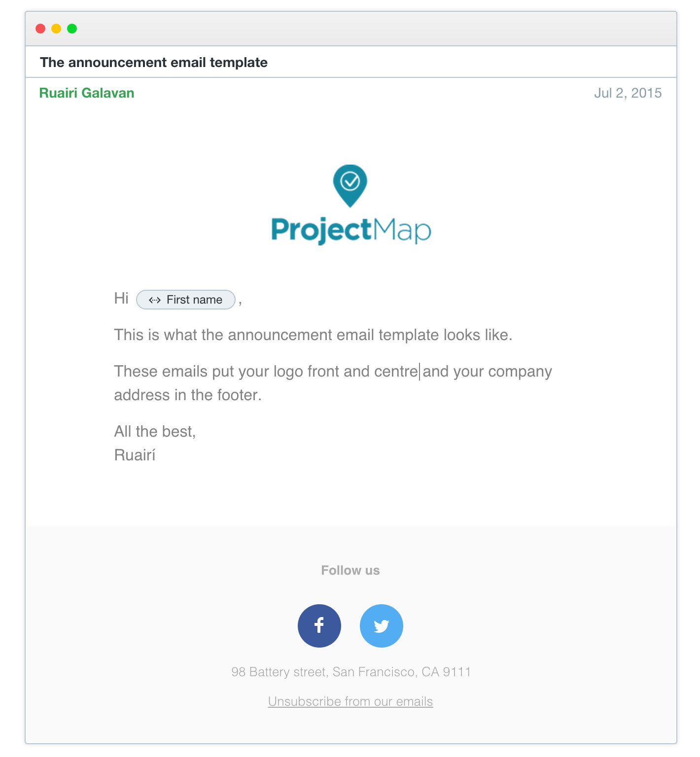4 email templates to choose from