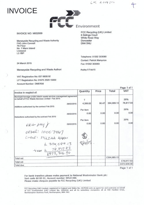 what are 10 invoices paid by merseyside recycling and waste authority totalling 4758470 23 for
