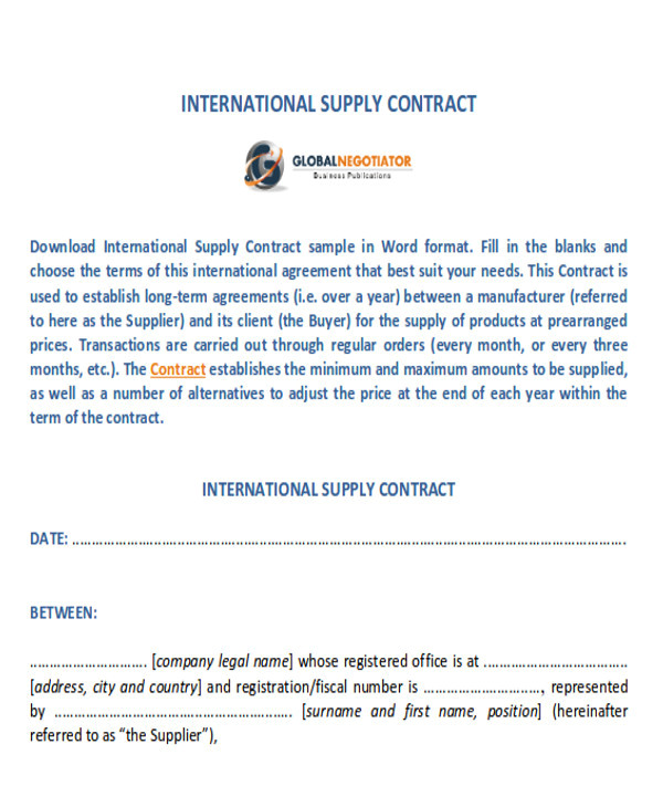 supply agreement contract