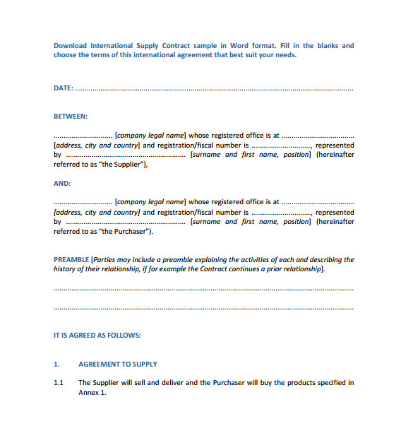 International Supply Contract Template Supply Contract Template 12 Download Free Documents In