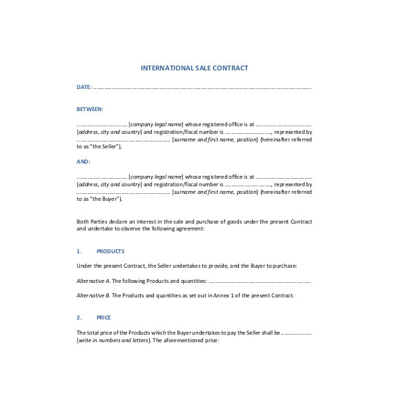 International Trade Contract Template Sales Agreement Template 22 Word Pdf Google Docs