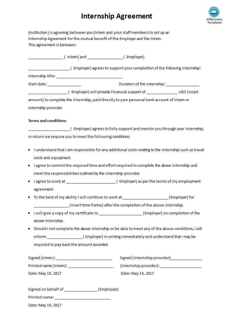 basic internship agreement template