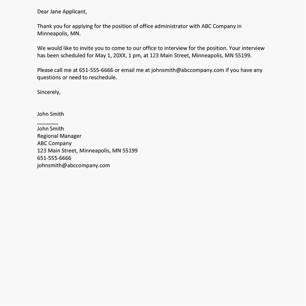 job interview invitation letter examples 2061123