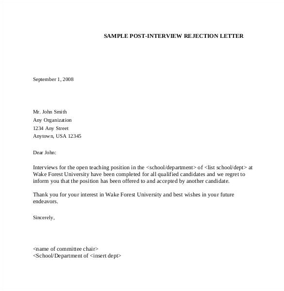 Interview Rejection Email Template 27 Rejection Letters Template Hr Templates Free