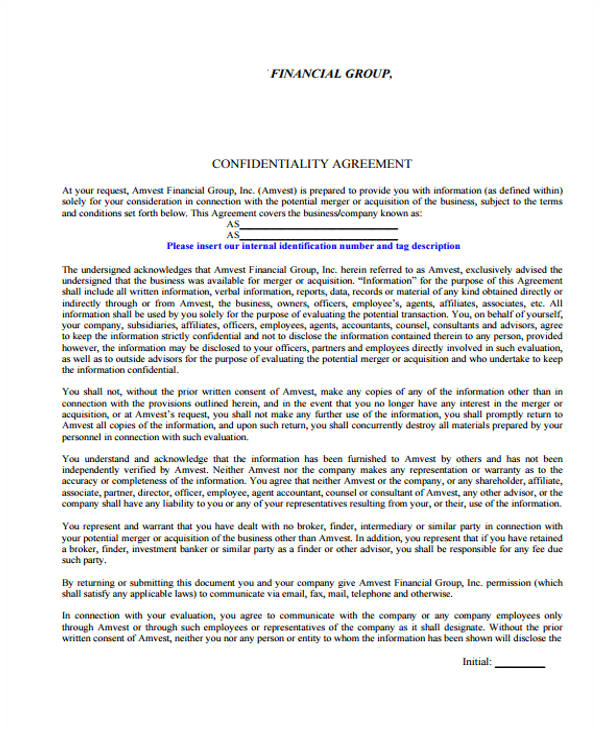 confidentiality agreement form in pdf