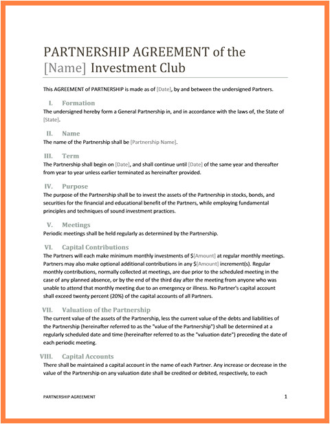 6 exclusive partnership agreement template