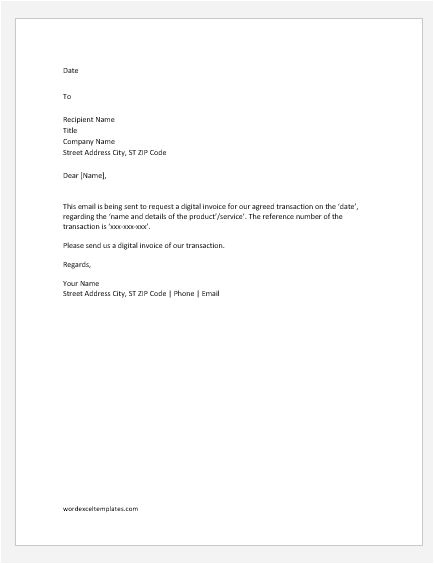 invoice request letters emails
