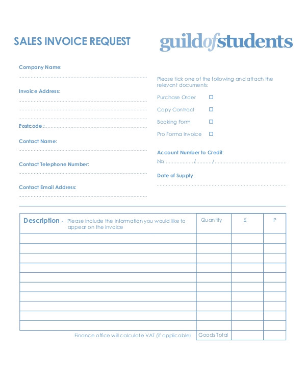 Invoice Request Email Template Sample Invoice Request form 9 Examples In Word Pdf