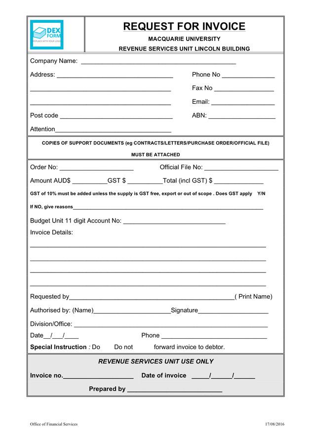 university invoice request form