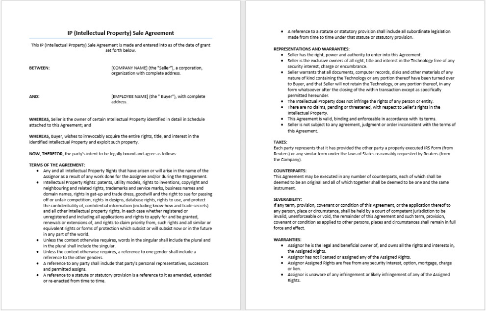 great ip sale agreement template example for software license featuring representations and warranties