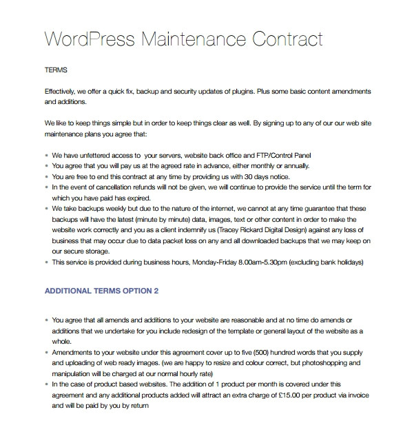 maintenance contract template