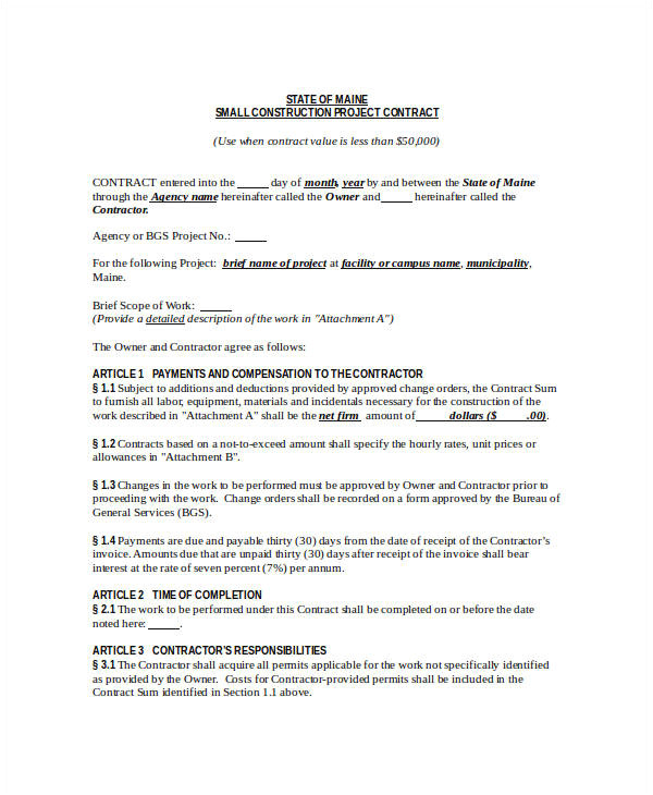 It Project Contract Template Construction Contract Template 12 Word Pdf Apple