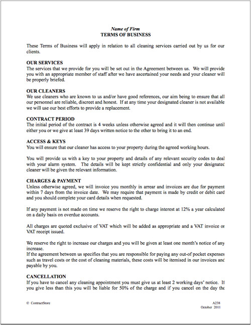 Janitorial Contracts Templates Free Printable Cleaning Contract Template form Generic