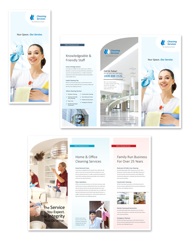 cleaning janitorial services tri fold brochure template