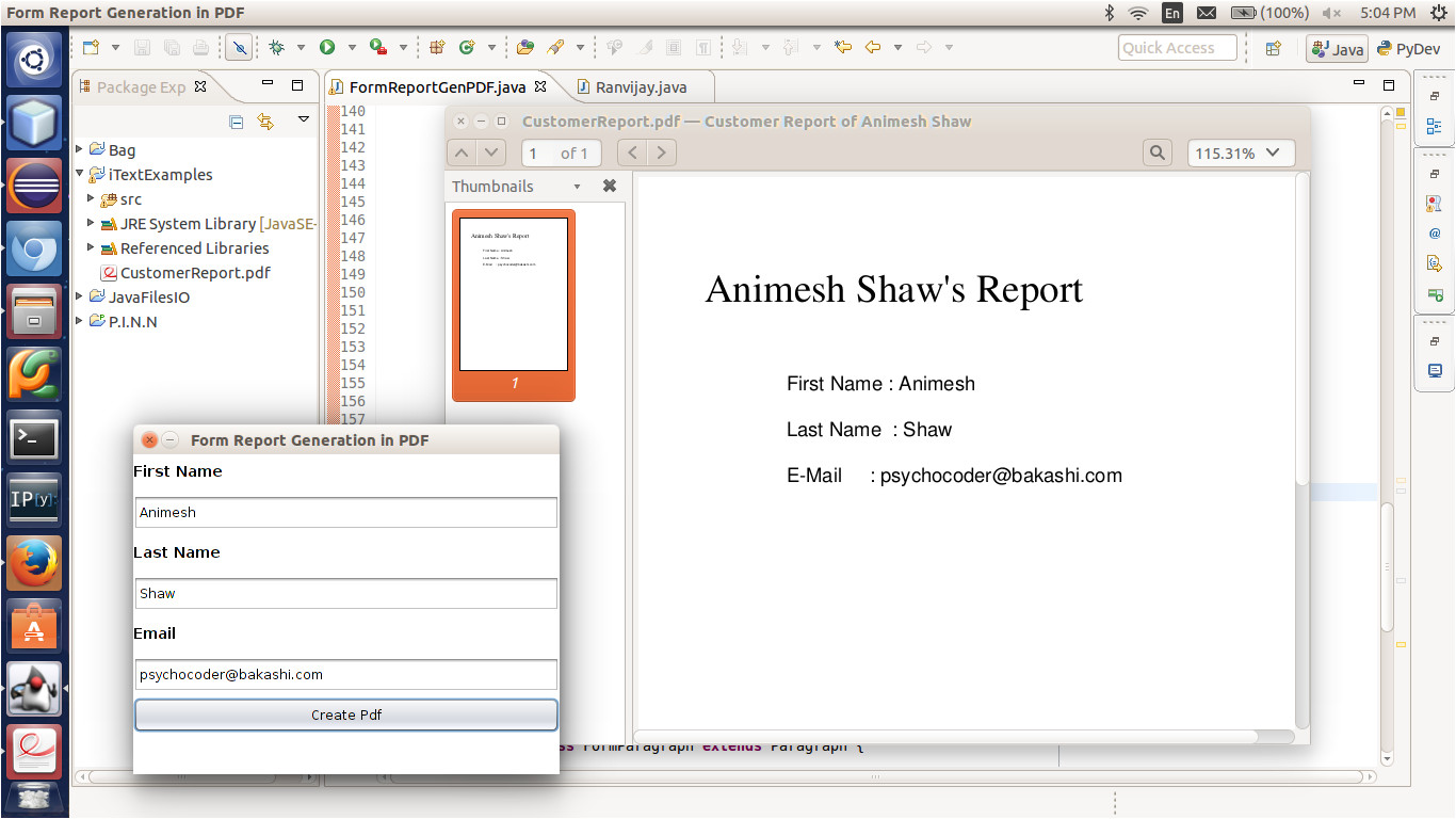 pdf file generation example in java using itext library