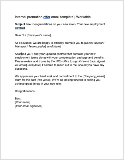 job offer letter template examples