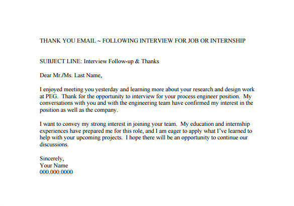 sample thank you email after job interview