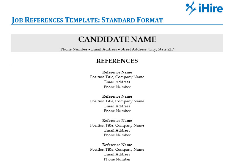 job reference page template and tips