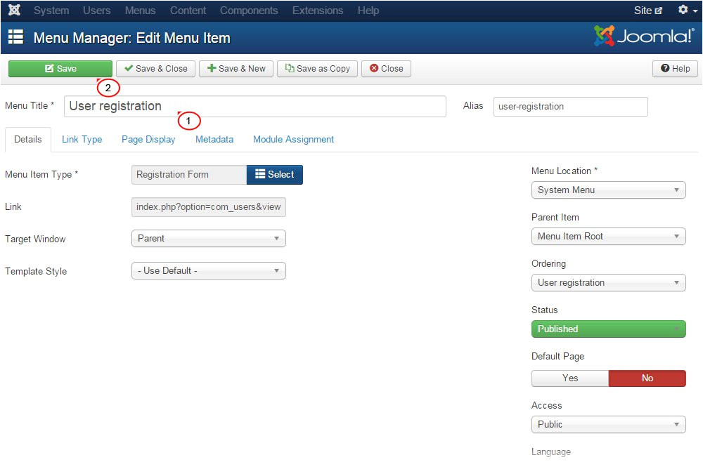 joomla 3 x edit registration page