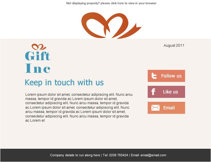 Keep In touch Email Template New Free social Media themed Email Templates Sign Up to