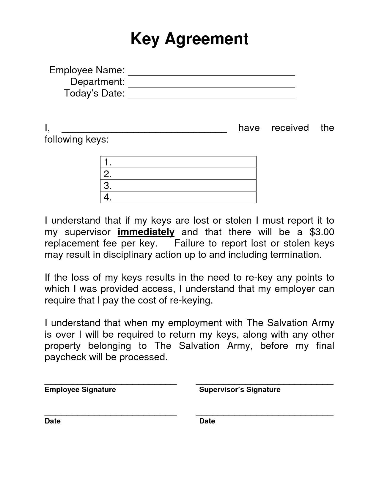 119129 employee key holder agreement form