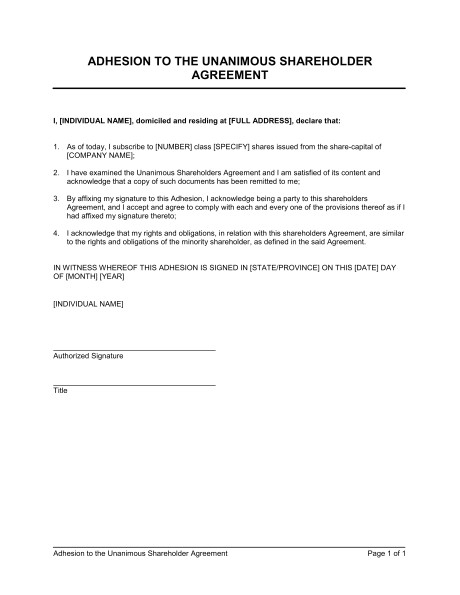 adhesion to the unanimous shareholder agreement d90