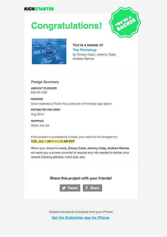 thankyou receipt email design kickstarter