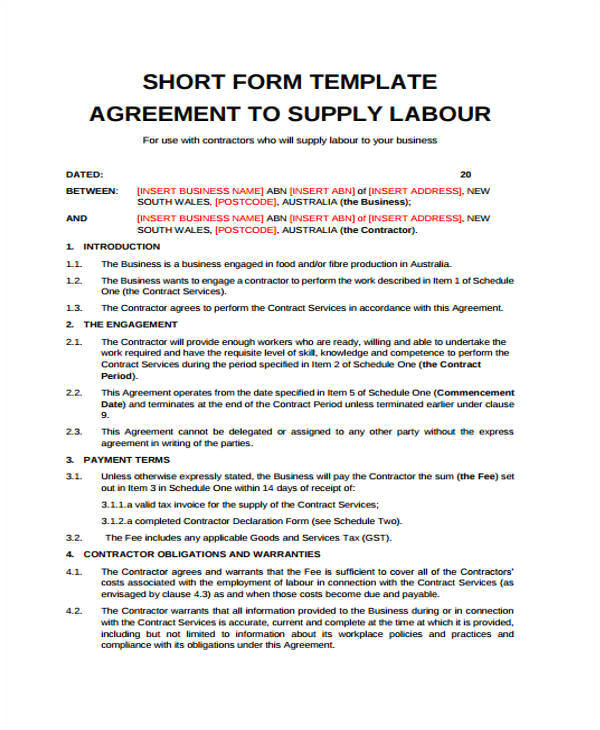 Labour Hire Contract Template 9 Labor Contract Sample Templates Docs Word Pages
