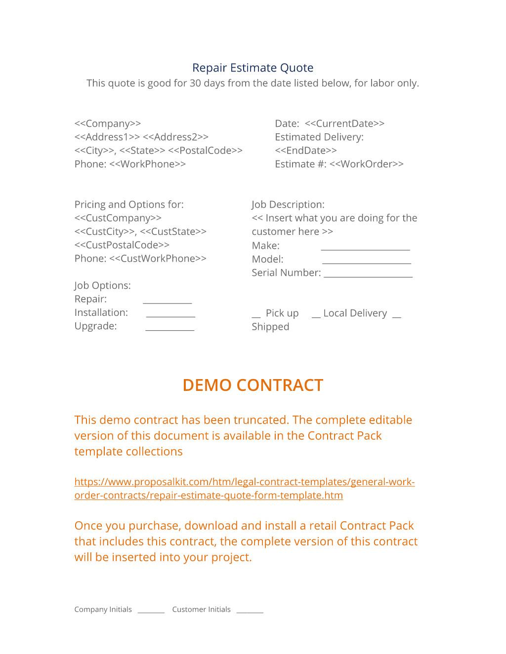 repair estimate quote form template