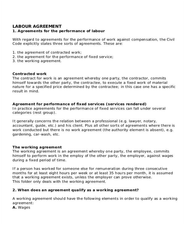 agreement for labour contract