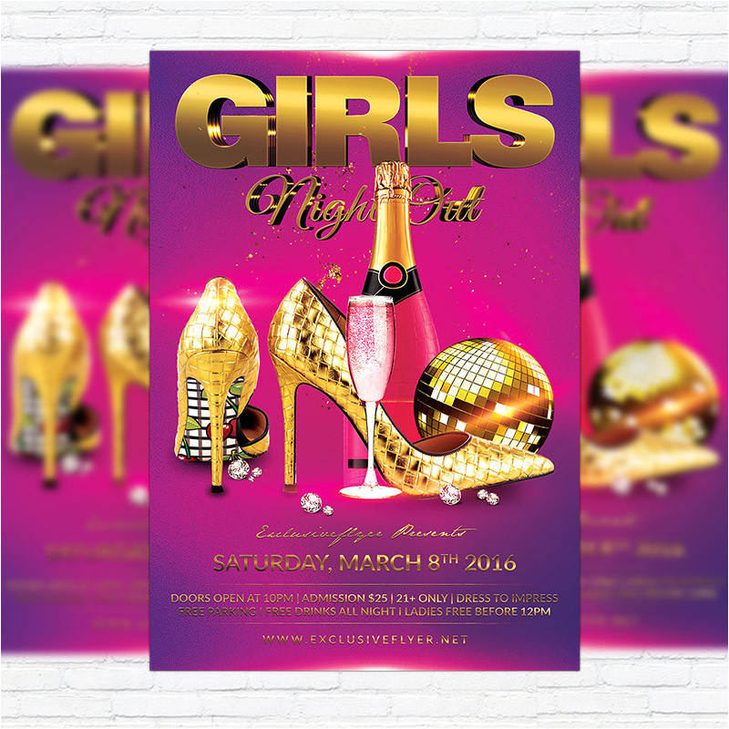 girls night out premium flyer template facebook cover 2