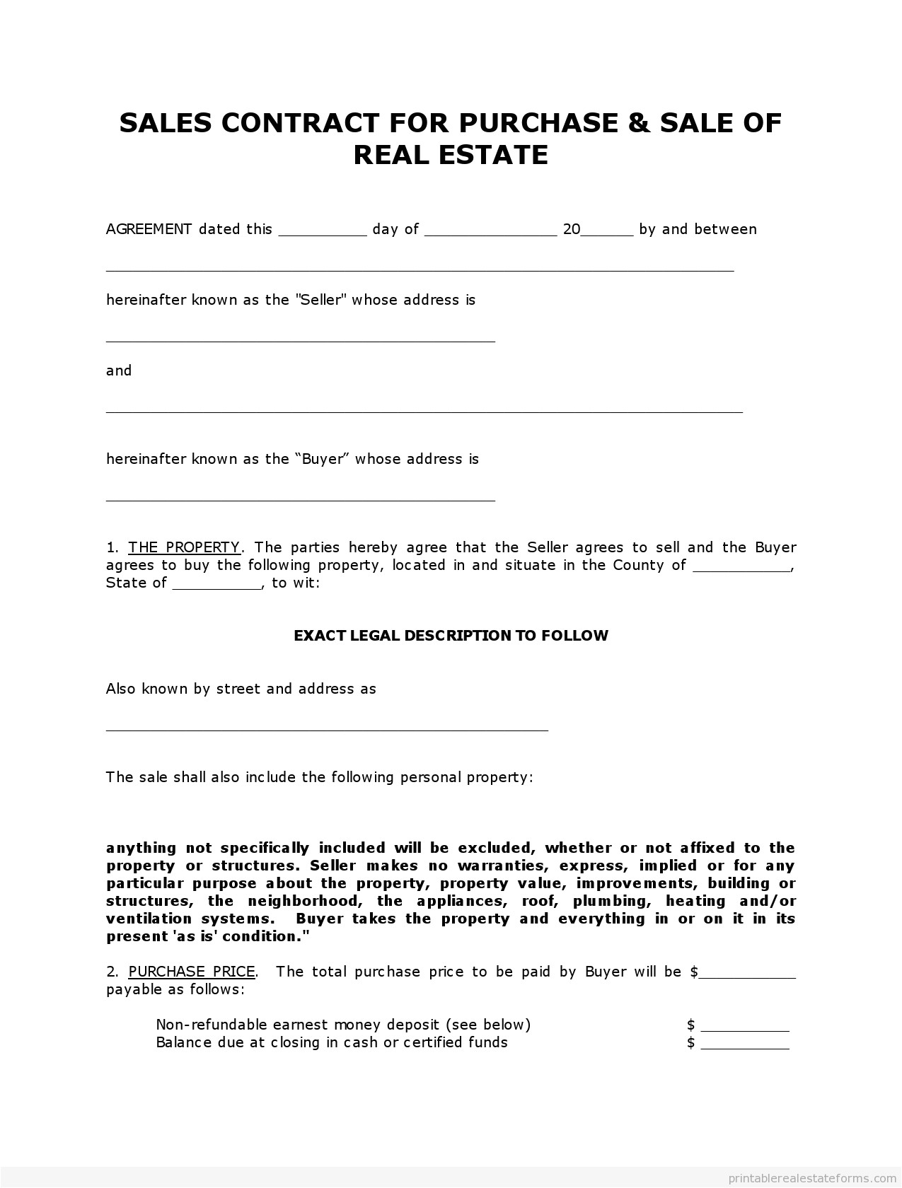 land contract template