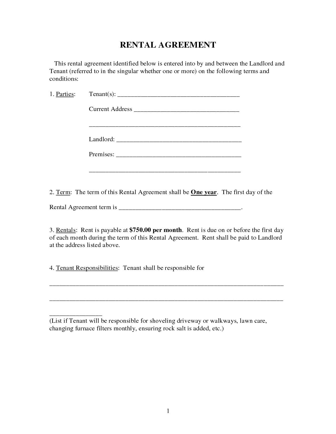 60850 landlord rental agreement form free