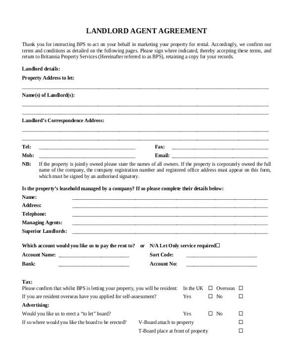 landlord agreement form