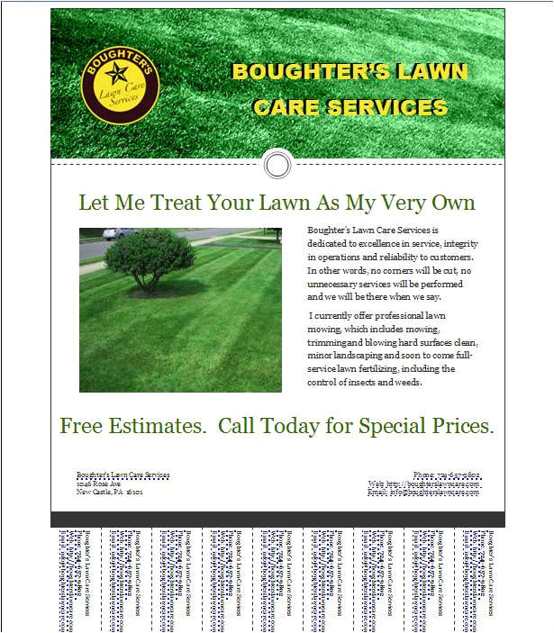 marks lawn care business flyer