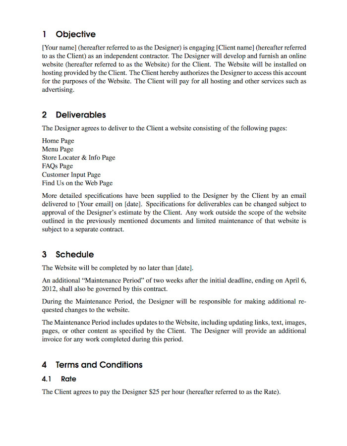 Latex Contract Template Latex Templates Contract
