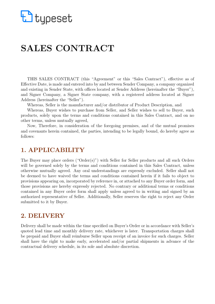 Latex Contract Template Sales Sales Contract Template Template