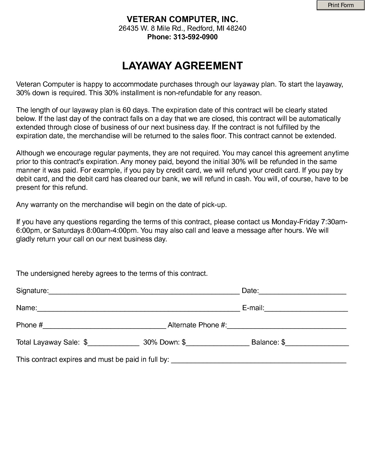post retail layaway forms printable 252350