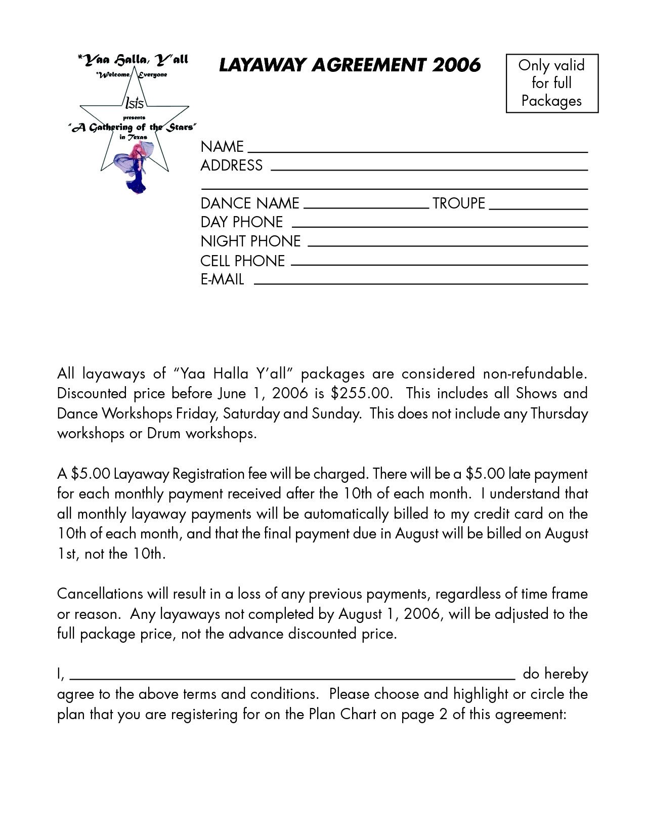 layaway agreement template good 8 best of layaway agreement forms printable free qa f53809