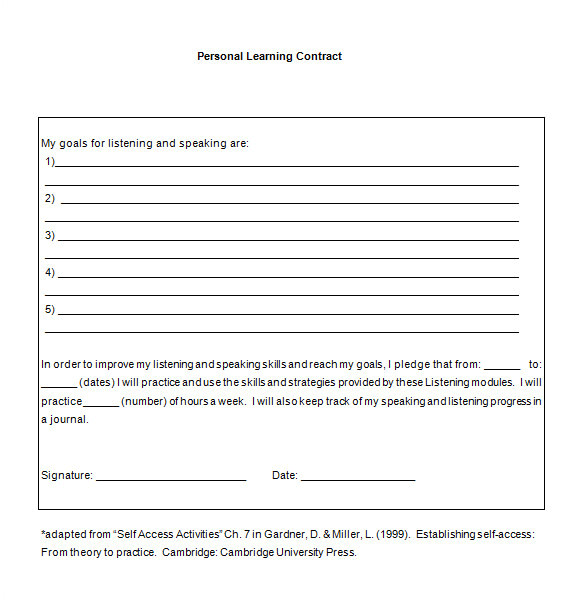 Learning Contracts Template 7 Learning Contract Templates Samples Pdf Google