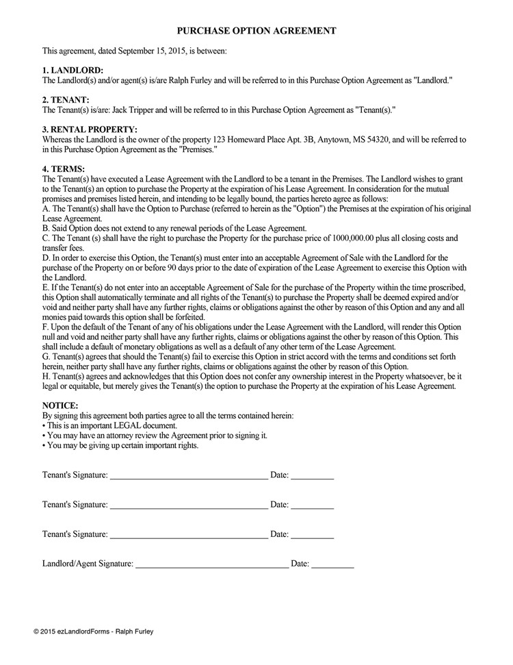lease option agreement lease purchase option 148