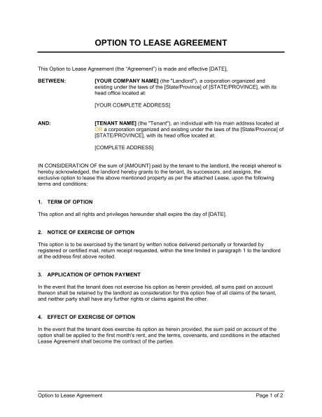 option to lease agreement d1193